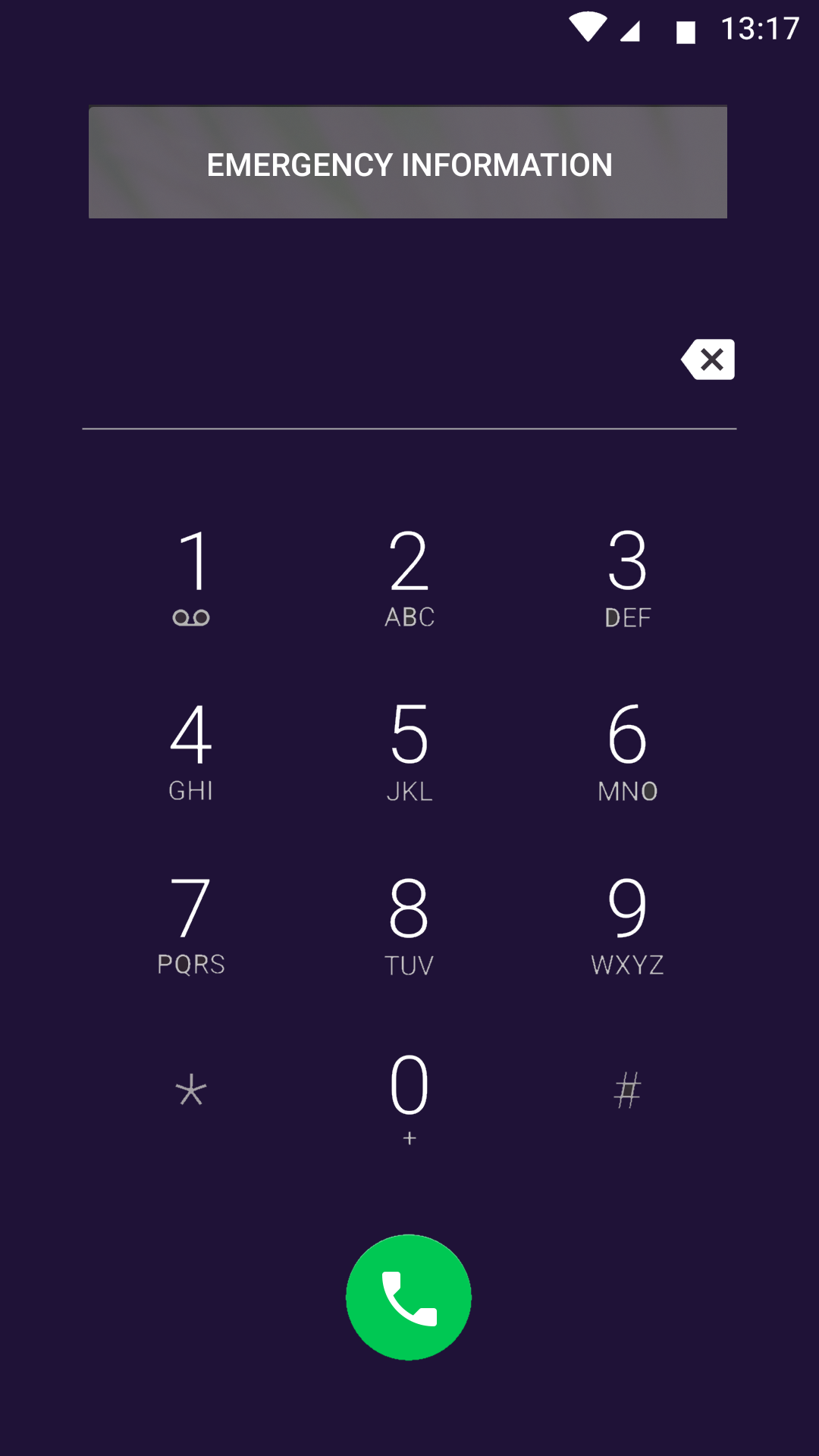Android emergency dialer screenshot.
