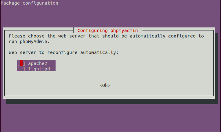 First phpMyAdmin set-up dialog to select the web-server type.