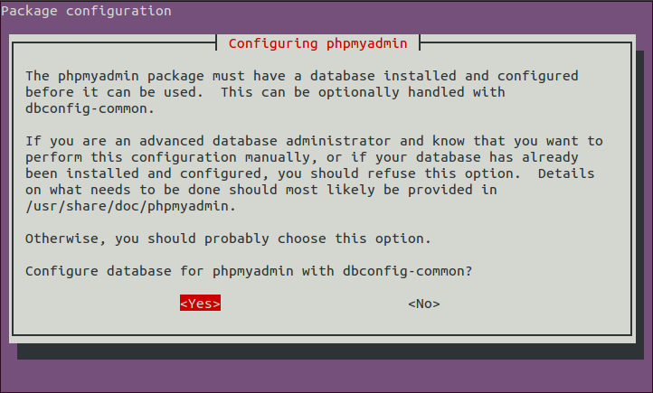 Second phpMyAdmin set-up dialog to configure the database.