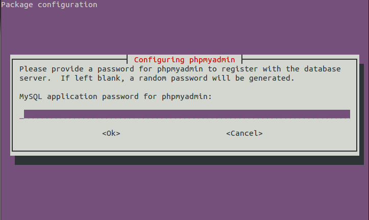 Fourth phpMAdmin set-up dialog to configure the database password.
